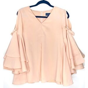Tops - NUDE SOFT FLUTTER SLEEVE BLOUSE